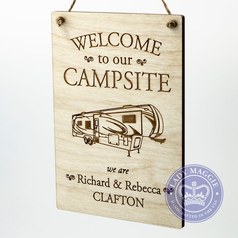 Personalized Fifth Wheel Camper Sign  Welcome to our Campsite image 0