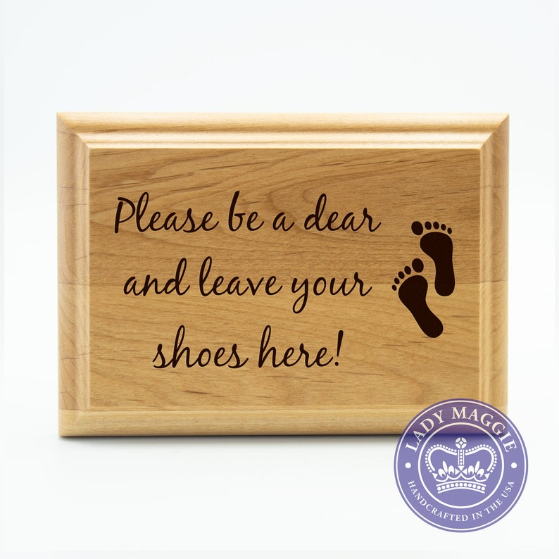 Remove Shoes Door Sign  No Shoes Wood Plaque  Take Off Shoes image 0