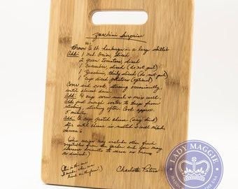 Personalized Family Recipe Cutting Board 11.5x8.75 - Mother's Day Handwritten Recipe Board - Custom Engraved Handwriting Recipe Family