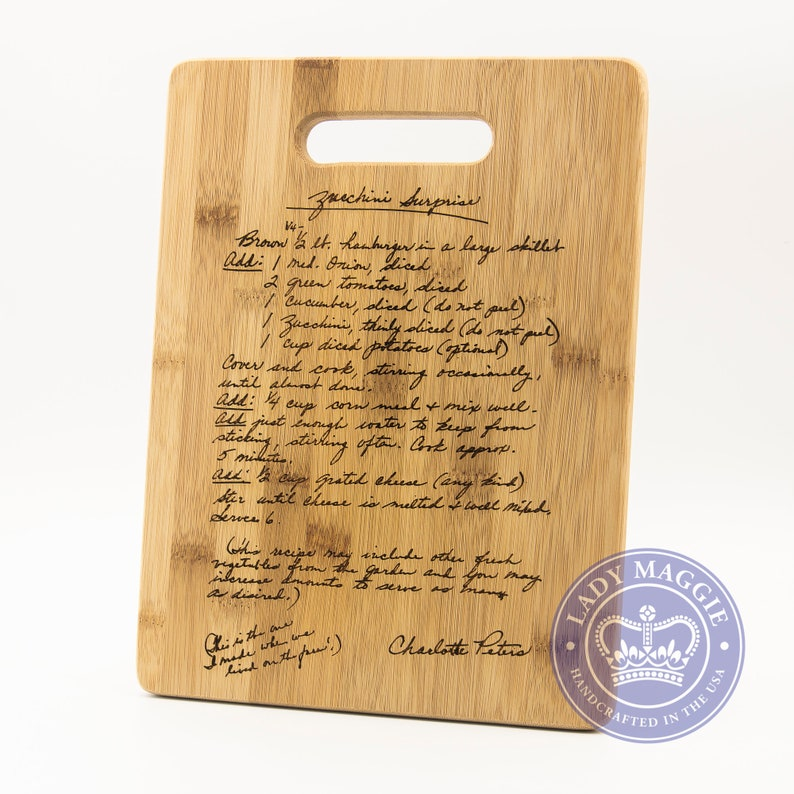 Personalized Family Recipe Cutting Board 11.5x8.75  image 1