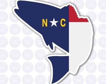 North Carolina Fish Decal - NC Fish State Flag Decal - North Carolina Bass Bumper Sticker - State of NC Decal - NC Flag Decal - Fisherman