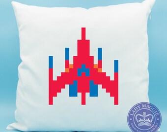 Galaga Pillow - Galaga Classic Arcade Game Pillow - Alien Arcade Video Game Emoji Cushion - Japanese Arcade Game - 80s Arcade Game Pillow