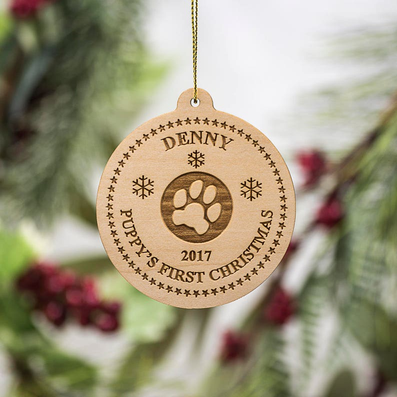 Personalized Dog Paw Print Christmas Ornament  Puppy's image 0