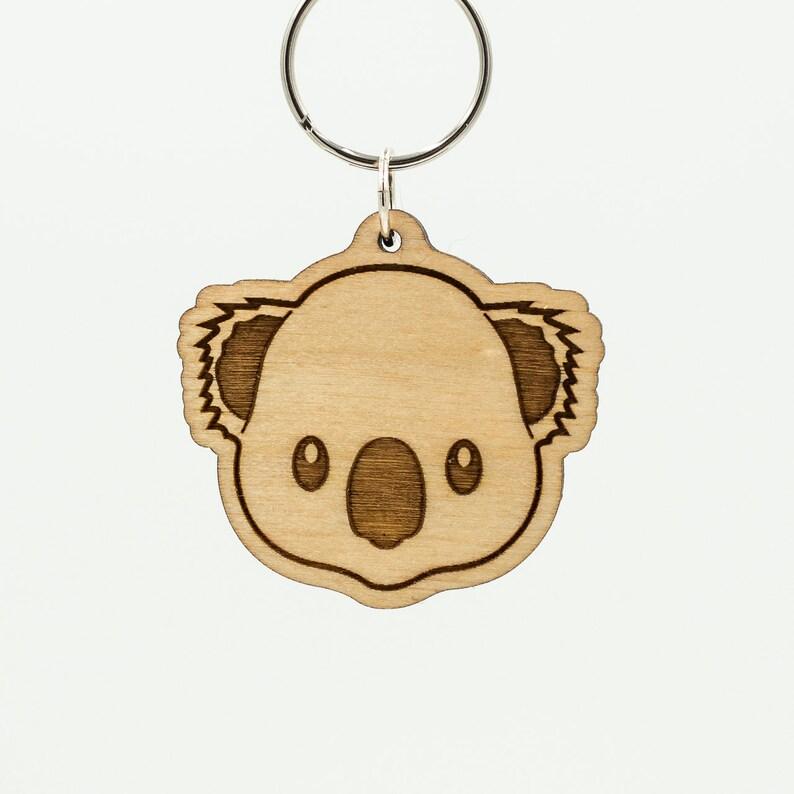 Koala Bear Emoji Keychain  Koala Bear Face Emoji Carved Wood image 0