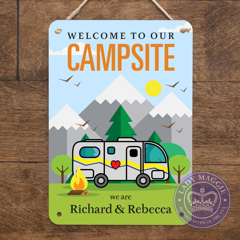 Personalized RV Sign  Welcome to our Campsite Custom Name RV image 0