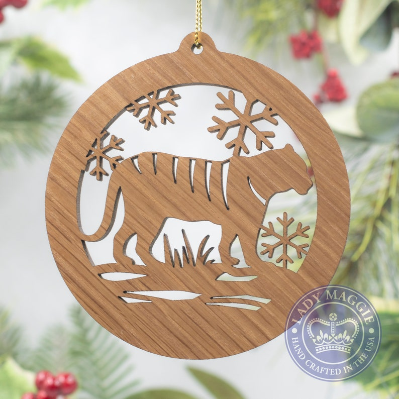 Tiger Christmas Ornament  Tiger Silhouette Laser Cut Wooden Standard ornament