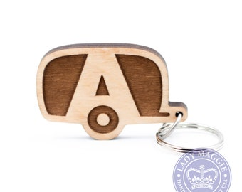 Airstream Camper Keychain - AI Camper Keyring - Camping Trailer - Airstream Travel Trailer Wood Charm - Personalized Camper Engraved