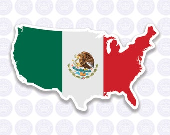 American Mexican Flag Decal - Mexico Flag Expat Decal Bumper Sticker - American Mexican Flag - Mexican Expat Laptop Decal