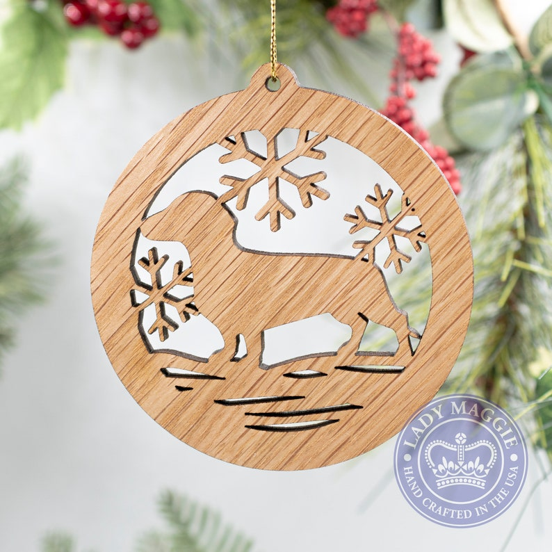 Dachshund Christmas Ornament  Doxie Dog Silhouette Cut Wooden Standard ornament