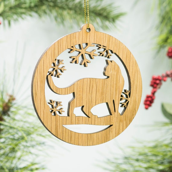 Cat Christmas Ornament Prowling Cat Silhouette Laser Cut Etsy