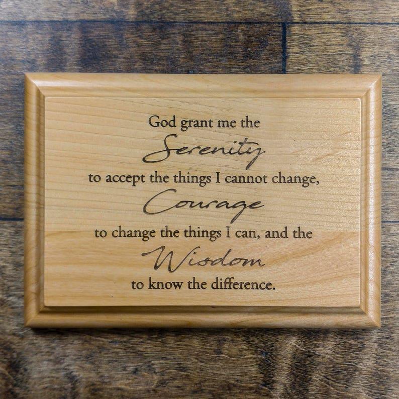Serenity Prayer Wooden Plaque  Serenity Prayer Engraved 7 x 5 image 1