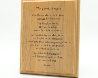 Lord's Prayer Wooden Plaque - Lord's Prayer Engraved 10 x 8 Alder Wall Plaque - Prayer Plaque - House Blessing Prayer