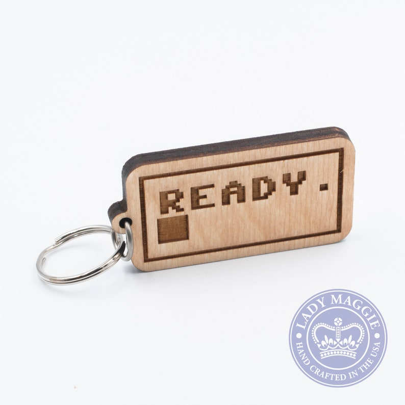 Ready. Keychain  C64 Carved Wood Key Ring  8 bit Home image 0