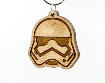 Wooden Stormtrooper Emoji Keychain - Star Wars Emoji Carved Wood Key Ring - Storm Trooper Emoji Wooden Engraved Charm