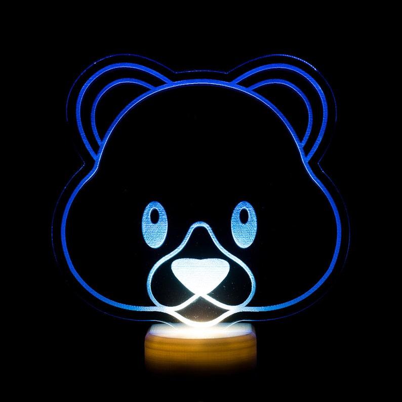 Teddy Bear Emoji Night Light  Bear Face Emoji LED Nightlight image 0