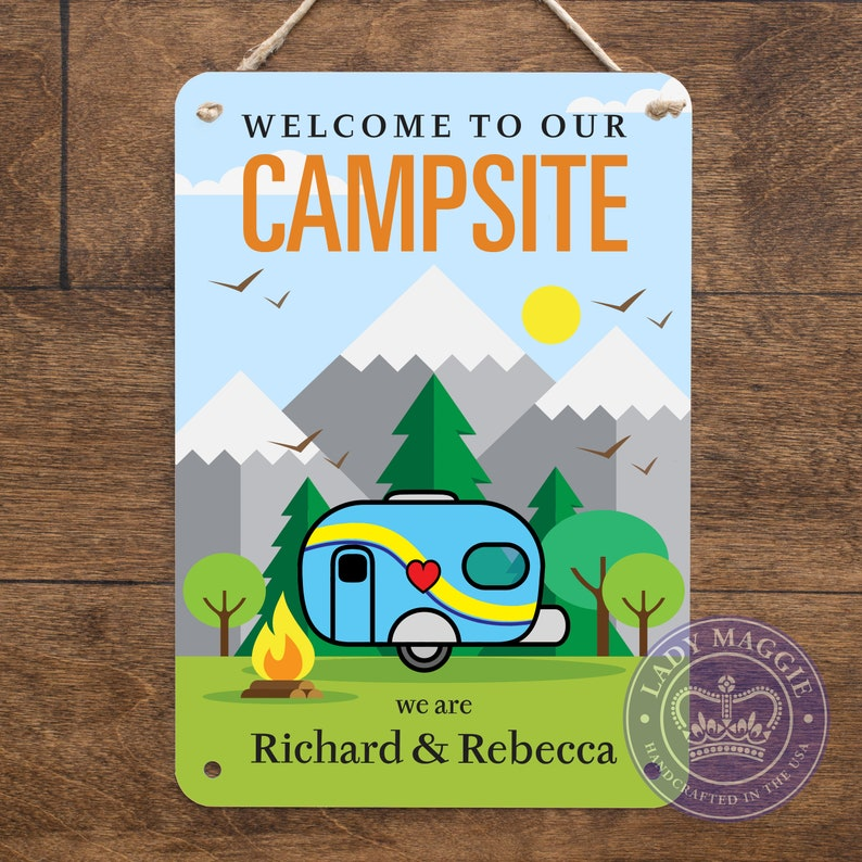 Personalized Camper Sign  Welcome to our Campsite Custom Name image 0