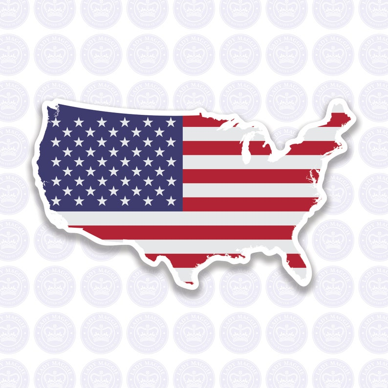American Flag Decal  USA Flag Decal Bumper Sticker  Shape of image 1
