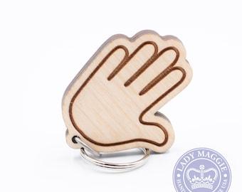 Raised Hand Emoji Keychain - Waiving Hand Emoji Key Ring - Stop Emoji - High Five Emoji Keychain - Hand Emoji Keychain - Raised Hand Keyring