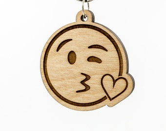 Kissing Face Emoji Keychain - Face Blowing A Kiss Emoji Carved Wood Key Ring - Kiss Face Emoji Wooden Engraved Charm