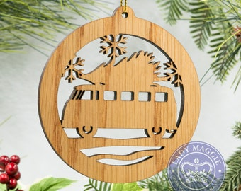 Camper Van Christmas Tree Silhouette Ornament - Camper Bus Christmas Ornament - Camper Van Ornament - RV Camper with Tree Ornament