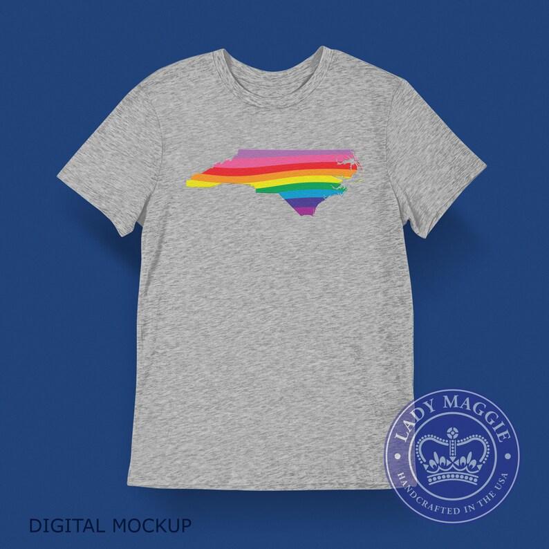 North Carolina Rainbow Flag T-Shirt  NC LGBTQ Rainbow Flag image 0