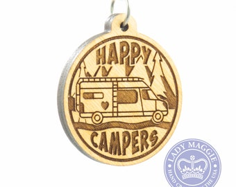 Happy Campers Class B Camper Van Keychain - Class B RV Camper Keychain - Camper Van Charm - Camping Keychain - Camper Trailer - VanLife