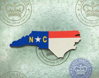 North Carolina Flag Magnet - State of North Carolina Magnet - Wood North Carolina Flag Magnet - Wooden NC Magnet - NC State Flag Magnet