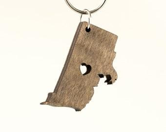 Rhode Island Wooden Keychain - RI State Keychain - Wooden Rhode Island Carved Key Ring - Wooden RI Charm State of RI Keychain - Rhode Island