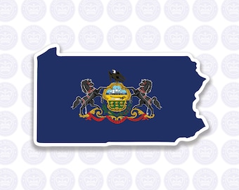 Pennsylvania Decal - PA State Flag Decal - Pennsylvania State Bumper Sticker - Pennsylvania Decal PA Flag Sticker - Pennsylvania Yeti Decal