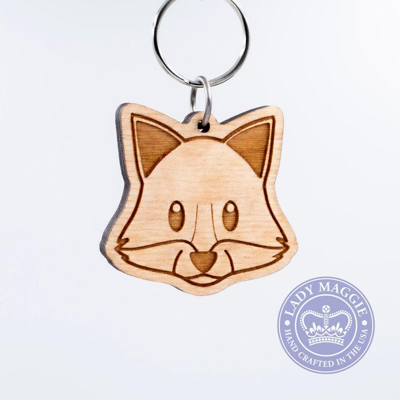 Fox Face Emoji Keychain  Wooden Fox Emoji Carved Wood Key image 0