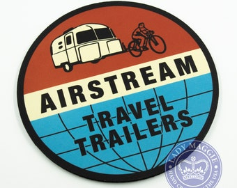 """Retro Airstream Round Mousepad - Airstream Mouse Pad 7 1/2""""  Airstream Bambi Mouse Mat with Free Decal - Airstream Camper Vintage Trailer"""