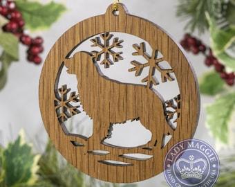 Golden Retriever Christmas Wood Ornament - Retriever Dog Silhouette Cut Wooden Tree Decoration - Golden Retriever Ornament - Golden Ornament