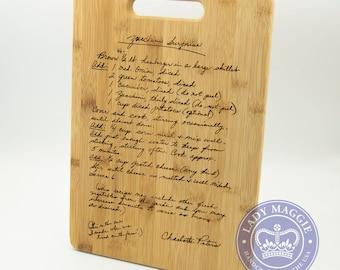 Custom Engraved Family Recipe Cutting Board 14x10 Engraved Handwritten Recipe Board - Grandmas Handwriting Recipe Board - Bamboo Recipe