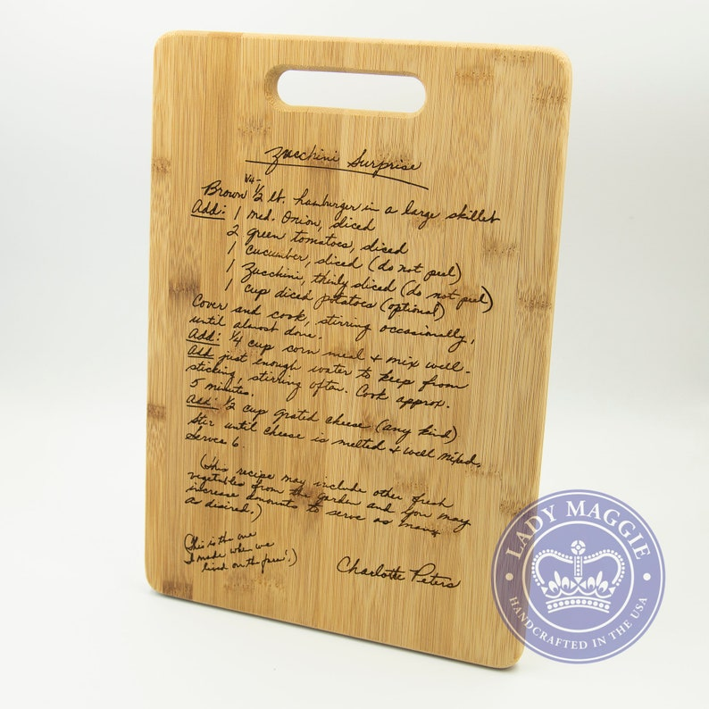 Custom Engraved Family Recipe Cutting Board 14x10 Engraved image 0