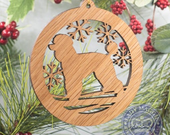 Poodle Christmas Wood Ornament - Standard Poodle Silhouette Pet Ornament - Personalized Toy Poodle Ornament - Miniature Poodle Dog Ornament