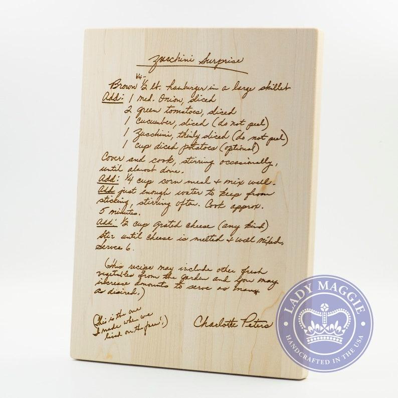 Grandmas Handwritten Recipe Maple Cutting Board 12x9 Gift for image 0