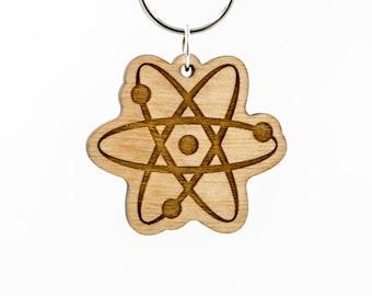 Atom Keychain - Atomic Wooden Engraved Charm - Big Bang Theory Atom Wood Keychain - Atom Carved Wood Key Ring - Atomic Particle Keyring