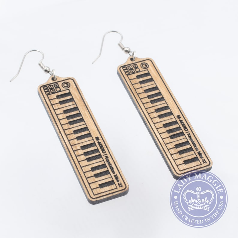 Synthesizer Earrings  Keyboard Earrings  Musical Instrument image 0