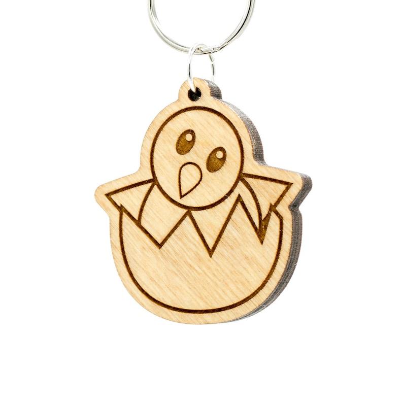 Hatching Chick Emoji Keychain  Wooden Baby Chicken Emoji image 0