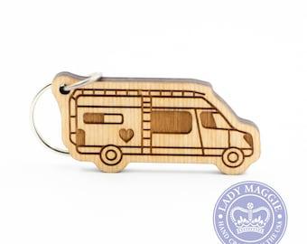 Class B Camper Keychain - VanLife Keychain - Camper Van Charm - Camping Keychain - Sleeper Van Engraved Wood Key Ring - Class B Keyring