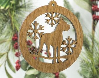 Great Dane Christmas Ornament - Great Dane Dog Silhouette Wooden Tree Decoration - Great Dane Ornament - German Mastiff Wood Dog Ornament