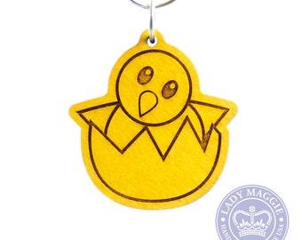 Hatching Chick Emoji Keychain - Wooden Yellow Baby Chicken Emoji Carved Wood Key Ring - Hatching Baby Chick Emoji