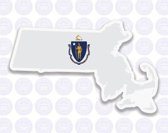 Massachusetts Decal - MA State Flag Decal - Massachusetts State Bumper Sticker - State of Massachusetts Decal MA Flag Sticker Massachusetts