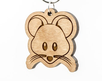 Mouse Face Emoji Keychain - Wooden Mouse Emoji Carved Wood Key Ring - Mouse with Whiskers Emoticon Engraved Charm