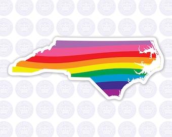 North Carolina Rainbow Decal - NC LGBTQ Flag Decal - North Carolina Rainbow Flag Bumper Sticker - NC Gay Pride Decal - nc lgbt rainbow pride