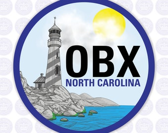 OBX Decal - Outer Banks Bumper Sticker - OBX Outer Banks Decal - Outer Banks North Carolina Laptop Decal - OBX Rocky Cliff Carolina Yeti