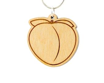 Peach Emoji Keychain - Butt Emoji Keyring - Juicy Peach Emoji Carved Wood Charm