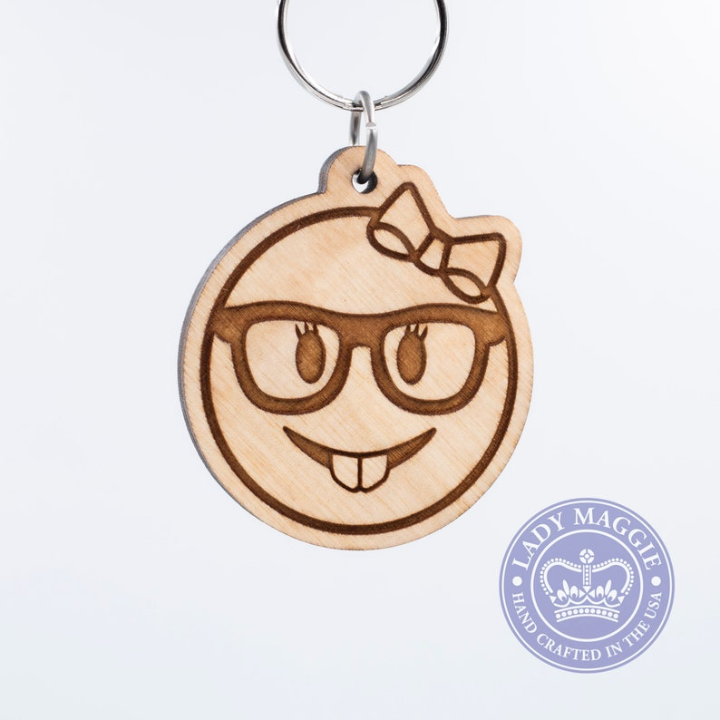 Female Nerd Face Emoji Wooden Keychain  Feminine Nerd with image 0