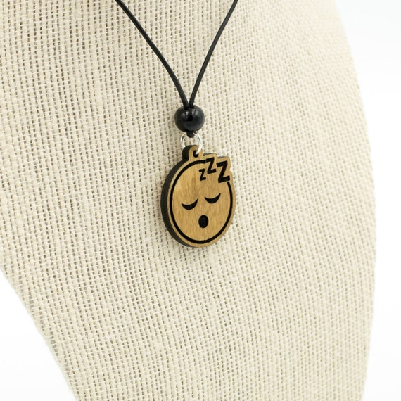 Sleeping Face Emoji Wooden Charm Necklace - Sleepy Face Emoji Charm - Sleep  Face Emoji Carved Wood Charm - ZZZ Face Emoji Charm