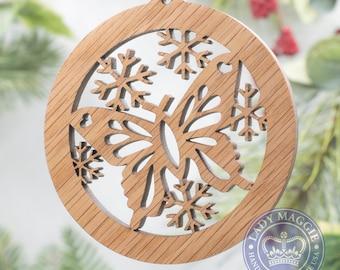 Butterfly Christmas Ornament - Butterfly Silhouette Laser Cut Wooden Tree Decoration - White Oak Butterfly Ornament - Filigree Butterfly